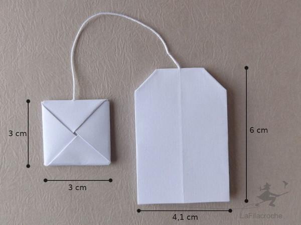 Dimensions marque-place origami sachet de thé