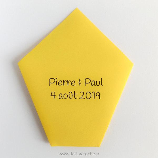 Marque-place pochette avec date imprimée au dos
